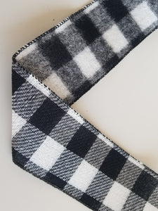 "2.5"" Black and White Buffalo Plaid Check Ribbon - 10 yards - Designer DIY"