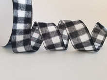 "Load image into Gallery viewer, 2.5"" Black and White Buffalo Plaid Check Ribbon - 10 yards - Designer DIY"