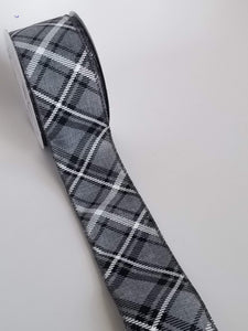 "2.5"" Gray, Black, White Plaid Ribbon - 20 YARDS - Designer DIY"