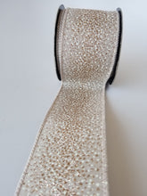 "Load image into Gallery viewer, 2.5"" Champagne & Ivory Glitter Dot DESIGNER Ribbon - Designer DIY"