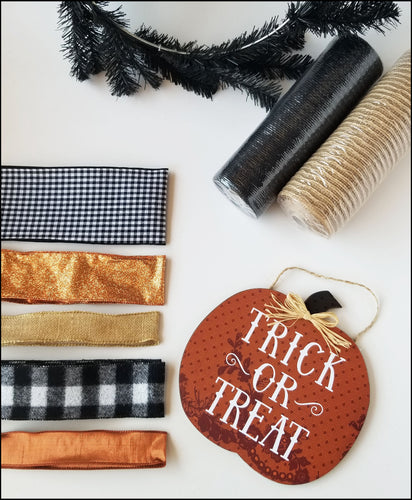 Trick or Treat Buffalo Plaid Halloween DIY Wreath Kit - Designer DIY