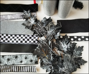 Black & Gray Halloween DIY Wreath Kit - Designer DIY