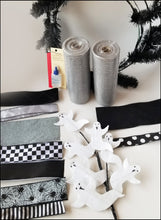 Load image into Gallery viewer, Black & Gray Ghost Halloween DIY Wreath Kit - Designer DIY
