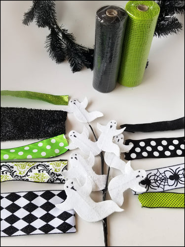 Black & Green Ghost Halloween DIY Wreath Kit - Designer DIY