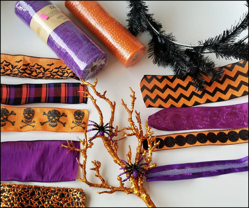 Orange & Purple Spider Halloween DIY Wreath Kit - Designer DIY