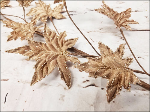 Natural Champagne Gold Faux Velvet Leaf Pick - Designer DIY