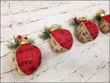 Load image into Gallery viewer, Rustic Burlap Christmas Ornaments | Set of 4 - Designer DIY