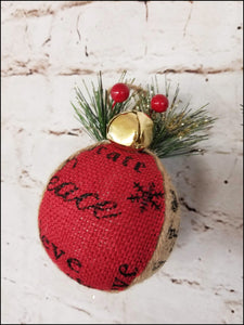 Rustic Burlap Christmas Ornaments | Set of 4 - Designer DIY