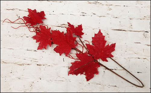Red Burlap Leaf Pick - Designer DIY
