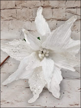Load image into Gallery viewer, White Christmas Poinsettia Pick - Designer DIY