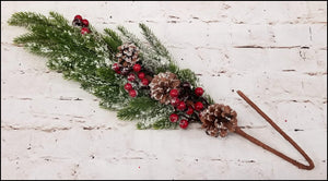 Flocked Pine Branch with Red Berries - Designer DIY