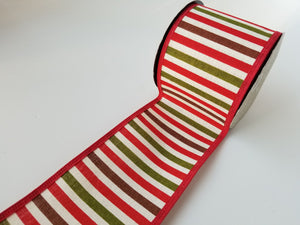 "4"" Red Green and Brown Stripe Ribbon - Designer DIY"