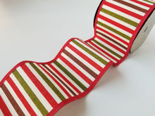 "Load image into Gallery viewer, 4"" Red Green and Brown Stripe Ribbon - Designer DIY"