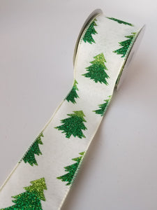 "2.5"" Ivory & Green Christmas Tree Ribbon - Designer DIY"