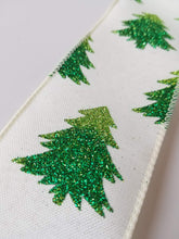 "Load image into Gallery viewer, 2.5"" Ivory & Green Christmas Tree Ribbon - Designer DIY"