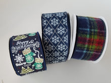 "Load image into Gallery viewer, 2.5"" Navy Green Red Flannel Plaid Ribbon - Designer DIY"