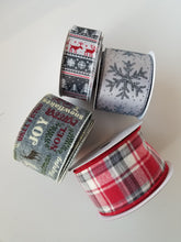 "Load image into Gallery viewer, 2.5"" Red and Gray Fuzzy Plaid Ribbon - Designer DIY"