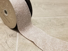 "Load image into Gallery viewer, 2.5"" Taupe Frosted Glitter DESIGNER Ribbon - Designer DIY"