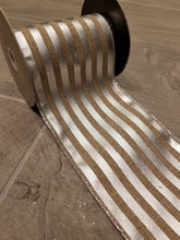 "Load image into Gallery viewer, 4"" Natural with Silver Metallic Stripes DESIGNER Ribbon - Designer DIY"