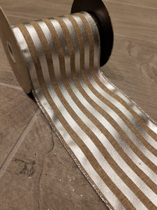 "4"" Natural with Silver Metallic Stripes DESIGNER Ribbon - Designer DIY"