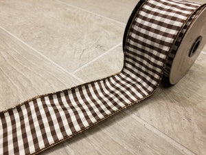 "2.5"" Brown & White Check DESIGNER Ribbon - Designer DIY"