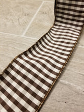 "Load image into Gallery viewer, 2.5"" Brown & White Check DESIGNER Ribbon - Designer DIY"