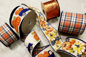 "2.5"" Fall Pumpkin DESIGNER Ribbon 