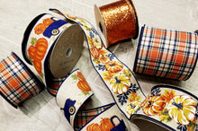 "Load image into Gallery viewer, 2.5"" Navy & Orange Fall Plaid DESIGNER Ribbon - Designer DIY"