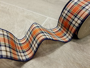 "2.5"" Navy & Orange Fall Plaid DESIGNER Ribbon - Designer DIY"
