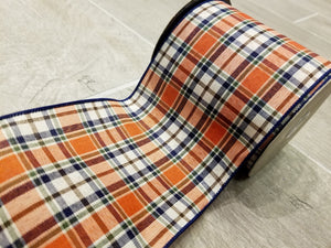 "4"" Navy & Orange Fall Plaid DESIGNER Ribbon - Designer DIY"