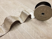 "Load image into Gallery viewer, 2.5"" Champagne Gold Glitter DESIGNER Ribbon - Designer DIY"