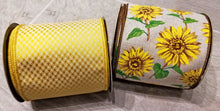 "Load image into Gallery viewer, 4"" Yellow Jacquard DESIGNER Ribbon - 5 yards - Designer DIY"