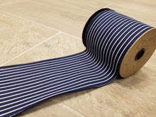 "Load image into Gallery viewer, 4"" Navy with Thin White Stripes DESIGNER Ribbon - Designer DIY"