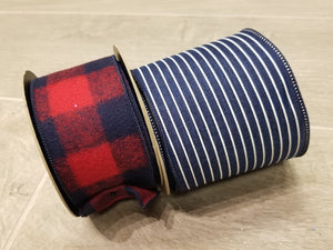 "4"" Navy with Thin White Stripes DESIGNER Ribbon - Designer DIY"