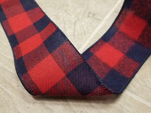 "Load image into Gallery viewer, 2.5"" Navy & Red Faux Wool Check DESIGNER Ribbon - Designer DIY"