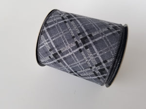 "4"" Gray & Black Glitter Plaid DESIGNER Ribbon - Designer DIY"