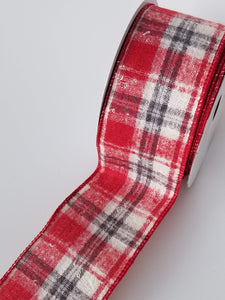 "2.5"" Red and Gray Fuzzy Plaid Ribbon - Designer DIY"