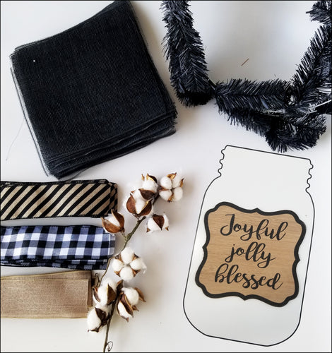 Joyful Jolly Blessed | PRECUT DIY Wreath Kit - Designer DIY