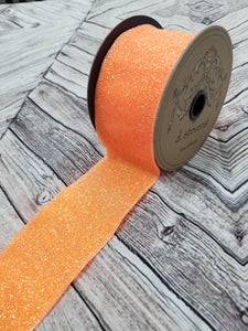 "2.5"" Neon Orange Sugar Glitter DESIGNER Ribbon - Designer DIY"