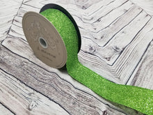 "Load image into Gallery viewer, 1.5"" Apple Green Glitter DESIGNER Ribbon - Designer DIY"