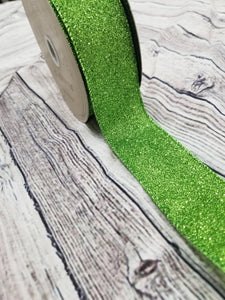 "1.5"" Apple Green Glitter DESIGNER Ribbon - Designer DIY"