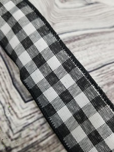 "1.5"" Black & White Gingham Check DESIGNER Ribbon - Designer DIY"