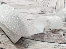 "Load image into Gallery viewer, 1.5"" White Frosted Glitter DESIGNER Ribbon - Designer DIY"