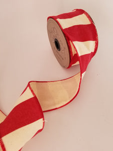 "2.5"" Red & Cream Wavy Stripe DESIGNER Ribbon - Designer DIY"