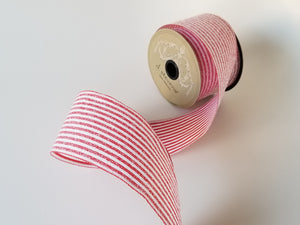 "2.5"" Red & White Glitter Stripe DESIGNER Ribbon - Designer DIY"