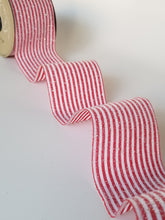 "Load image into Gallery viewer, 2.5"" Red & White Glitter Stripe DESIGNER Ribbon - Designer DIY"