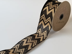 "2.5"" Black Chevron Burlap Ribbon - Designer DIY"