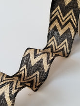 "Load image into Gallery viewer, 2.5"" Black Chevron Burlap Ribbon - Designer DIY"
