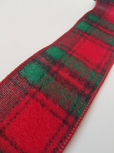 "Load image into Gallery viewer, 2.5"" Red & Emerald Plaid DESIGNER Ribbon - Designer DIY"