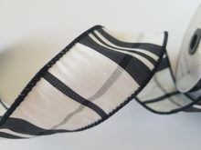 "Load image into Gallery viewer, 2.5"" Black & Ivory Plaid DESIGNER Ribbon"